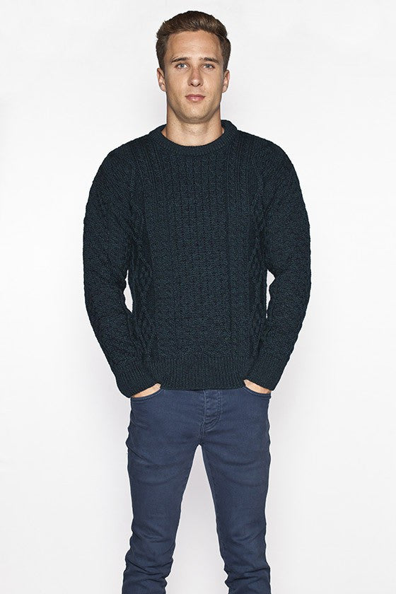 Men's Crew Neck Aran Sweater - Blackwatch
