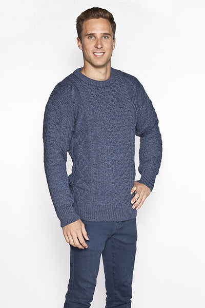 Men's Crew Neck Aran Sweater - Caspian Blue