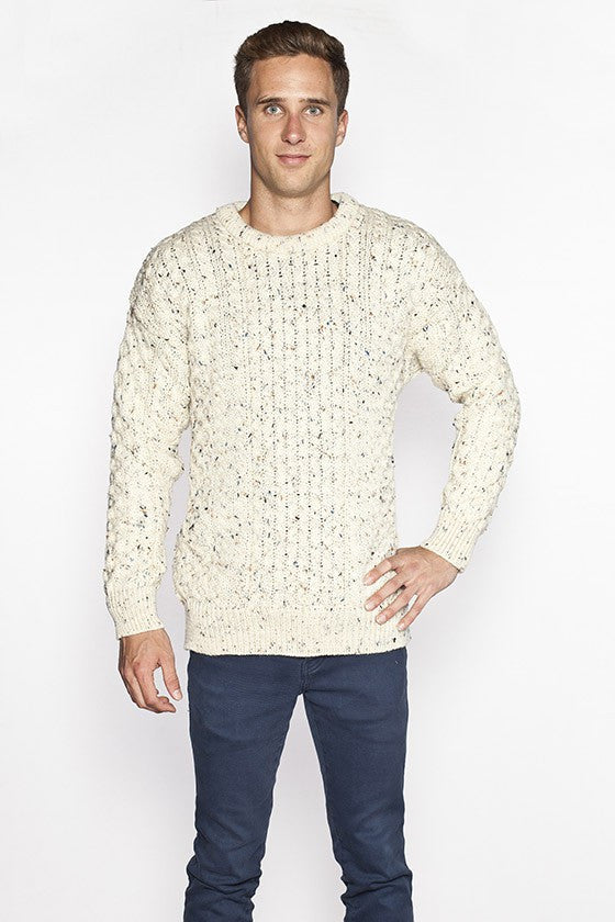 Men's Crew Neck Aran Sweater - Fleck