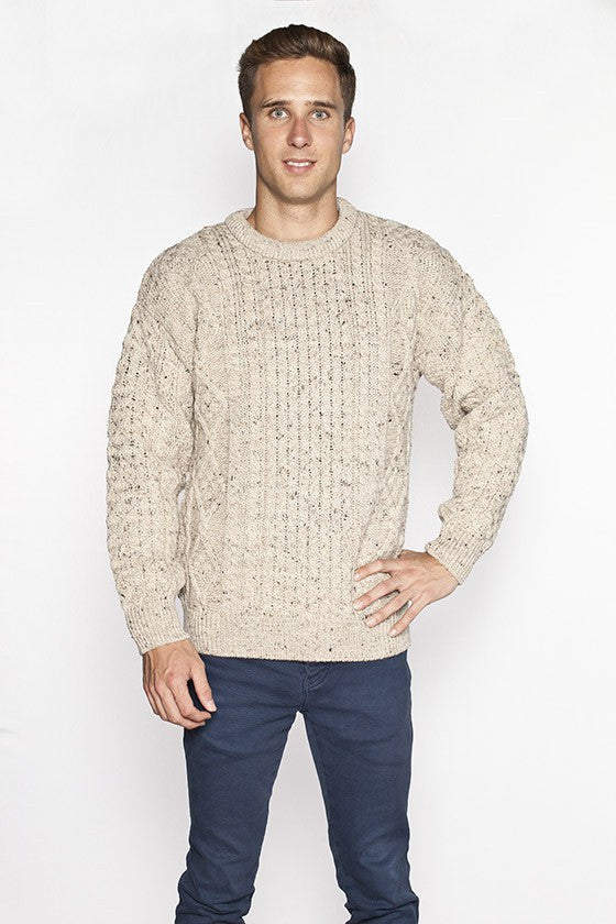 Men's Crew Neck Aran Sweater - Skiddaw Parsnip