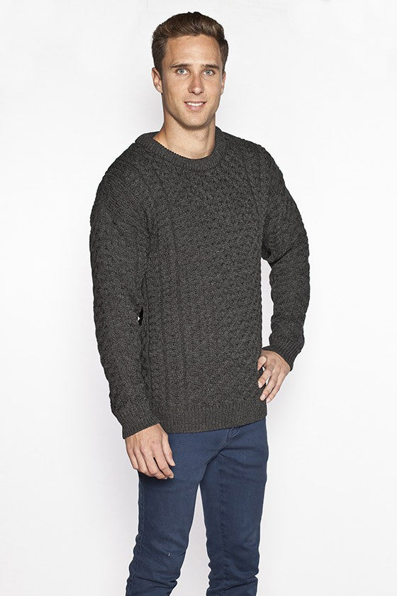 Men's Merino Honeycomb Sweater - Charcoal Grey