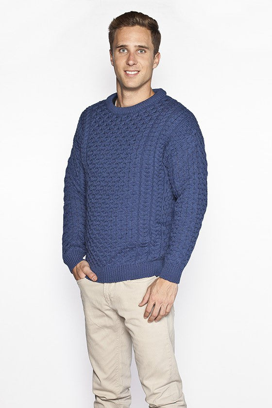 Men's Merino Honeycomb Sweater - Blue