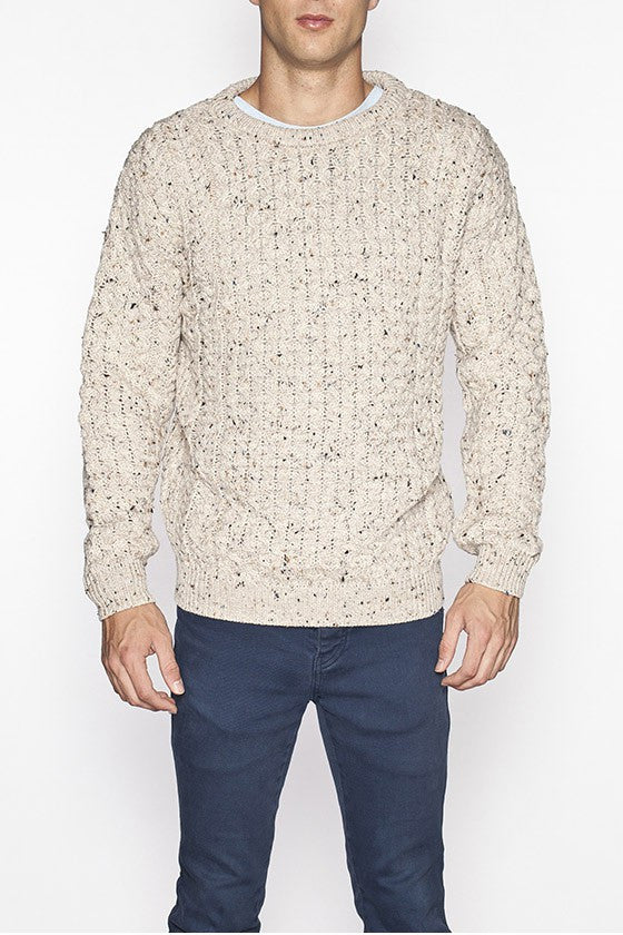 Men's Merino Honeycomb Sweater - Oatmeal