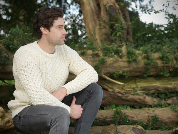Men's Merino Honeycomb Sweater - Natural