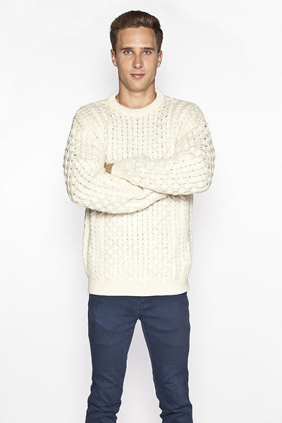 Men's Crew Neck Irish Wool Sweater - Natural