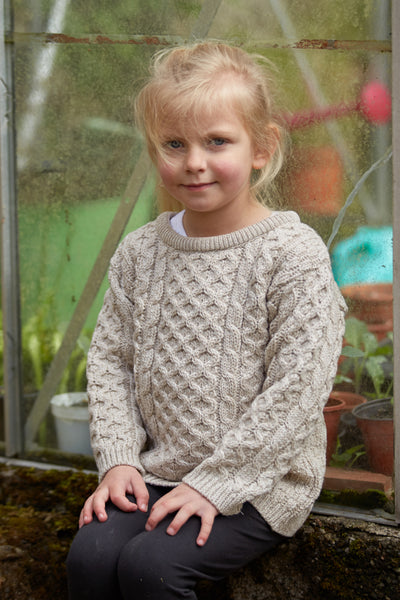 Kid's Crew Neck Aran Sweater - Parsnip
