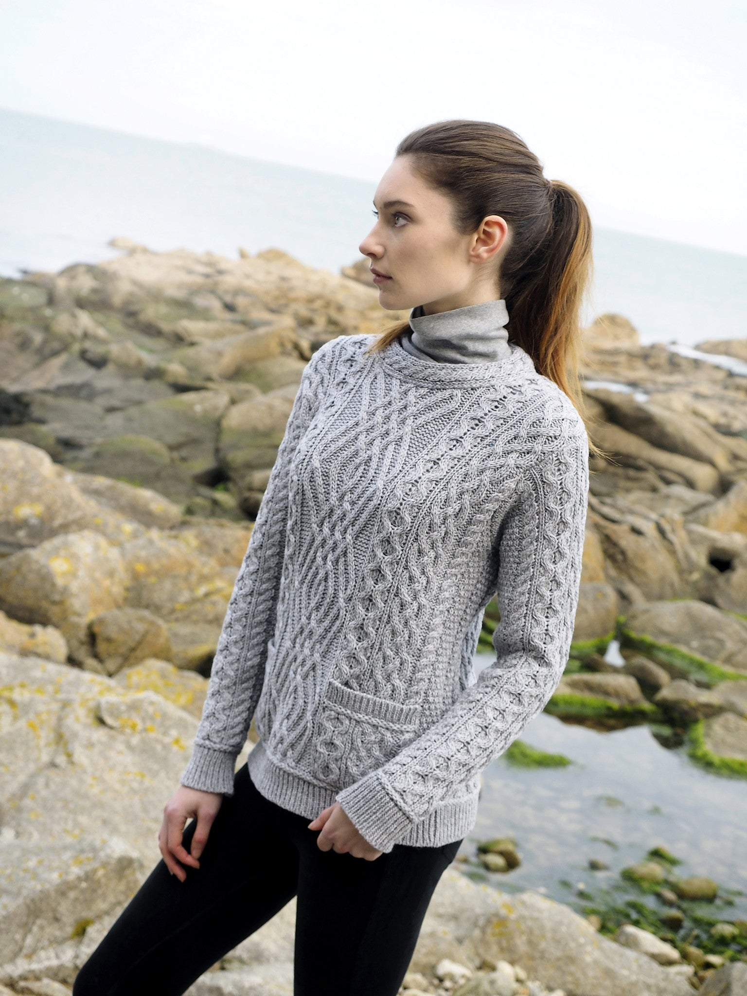 Women  39 s Cable Crew Neck Sweater with Pockets - Soft Grey 78b56498a