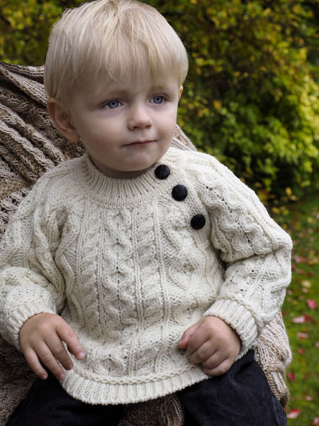 Baby Button Crew Neck Sweater - Natural
