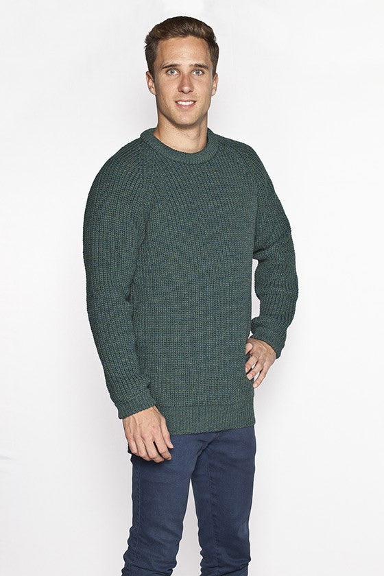 Men's Ribbed Irish Fisherman Sweater - Moss Green