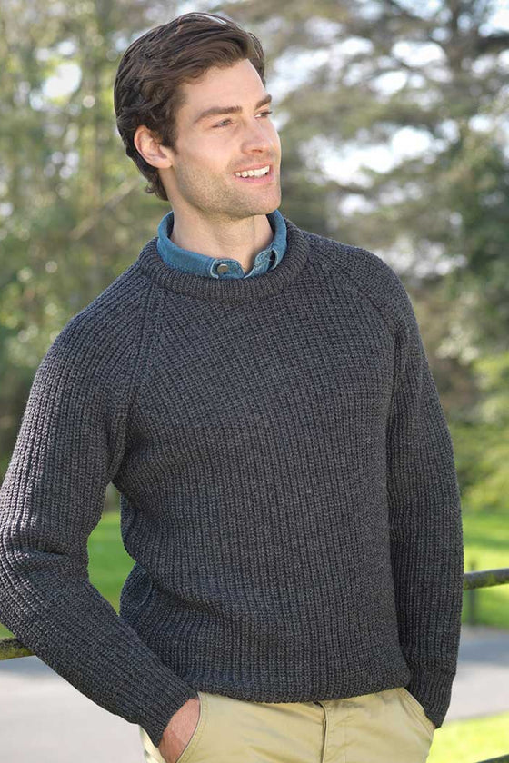 Men's Ribbed Irish Fisherman Sweater - Charcoal Grey