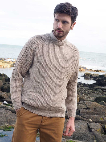 Men's Ribbed Irish Fisherman Sweater - Oatmeal