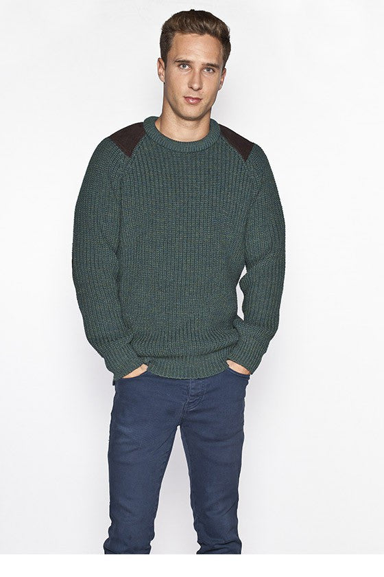Men's Oversized Fishermans Sweater - Moss Green