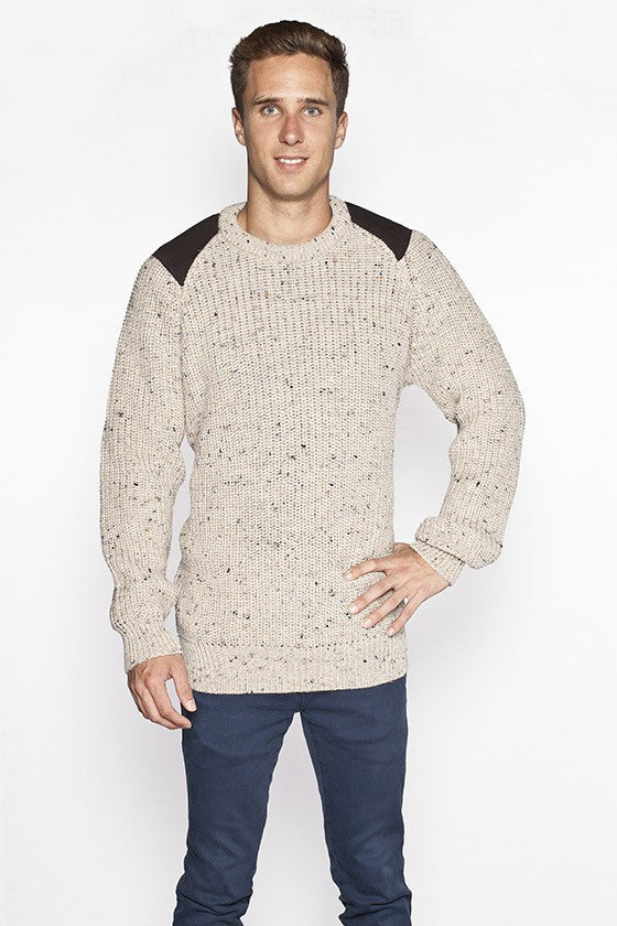 Men's Oversized Fishermans Sweater - Oatmeal