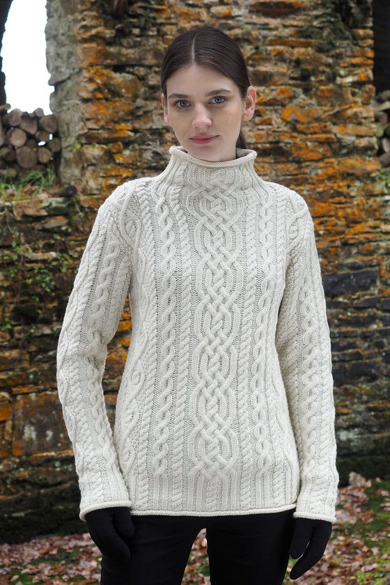 Women's Funnel Neck Sweater - Natural