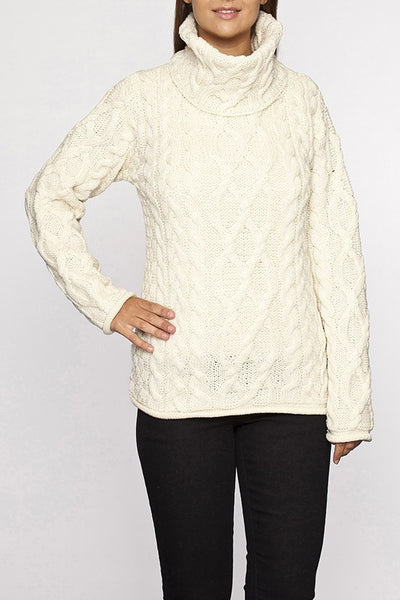 Ladies Turtleneck Cable Knit Sweater Aran Sweaters Direct