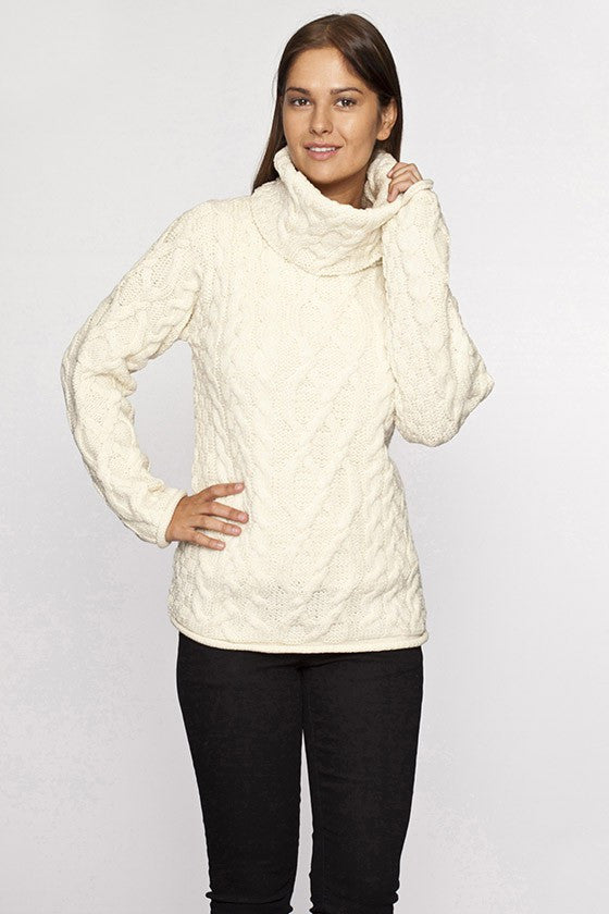 Women's Turtleneck Cable Knit Sweater - Natural
