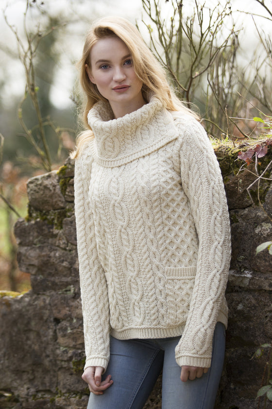 Women's Shirt Tail Cowl Neck Sweater - Natural