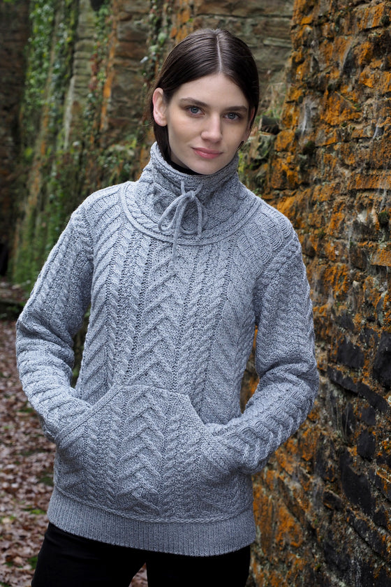 Women's Cowl Neck - Soft Grey