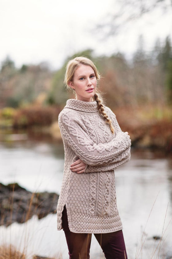 Merino Cable Knit Rollneck Sweater