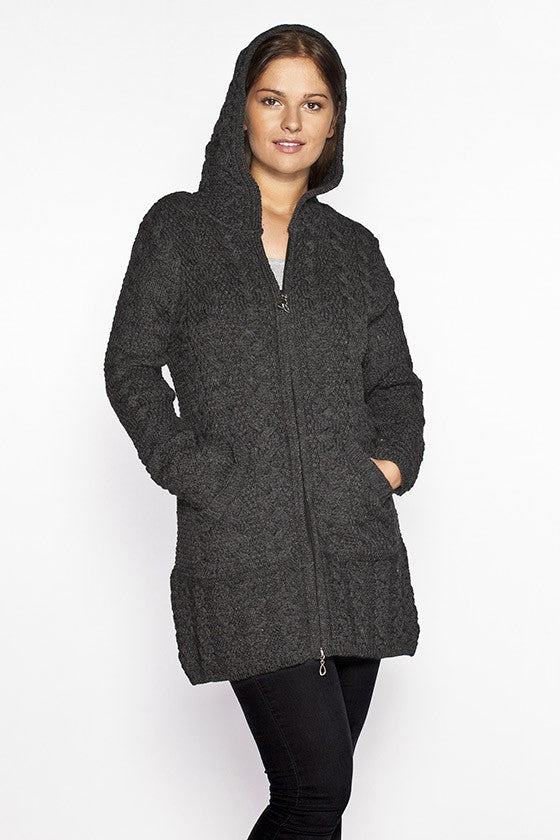 Women's Oversized Cable Knit Sweater Coat - Charcoal Grey