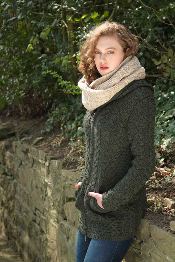 Women's Oversized Cable Knit Sweater Coat - Army Green