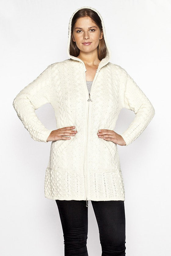 Women's Oversized Cable Knit Sweater Coat - Natural