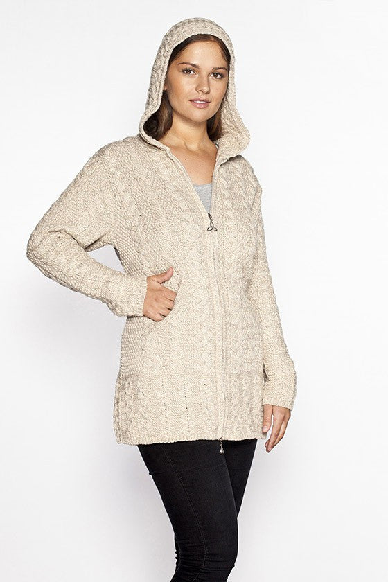 Women's Oversized Cable Knit Sweater Coat - Parsnip