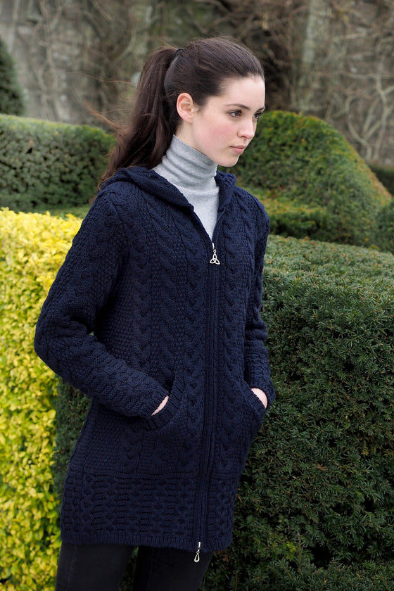 Women's Oversized Cable Knit Sweater Coat - Navy