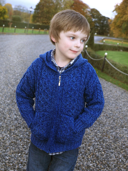Kids Hooded Zip Cardigan - Marl Blue