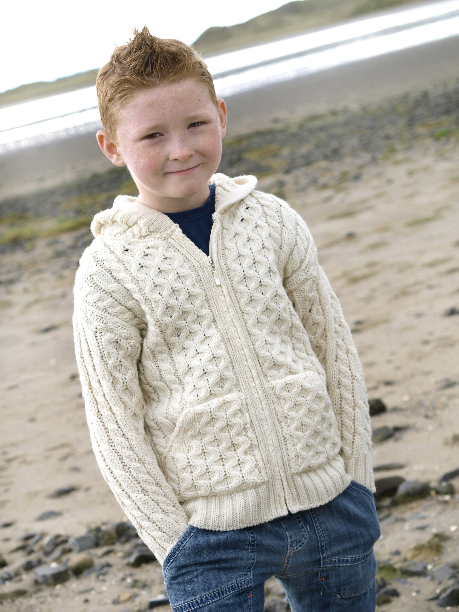 Kids Hooded Zip Cardigan - Natural