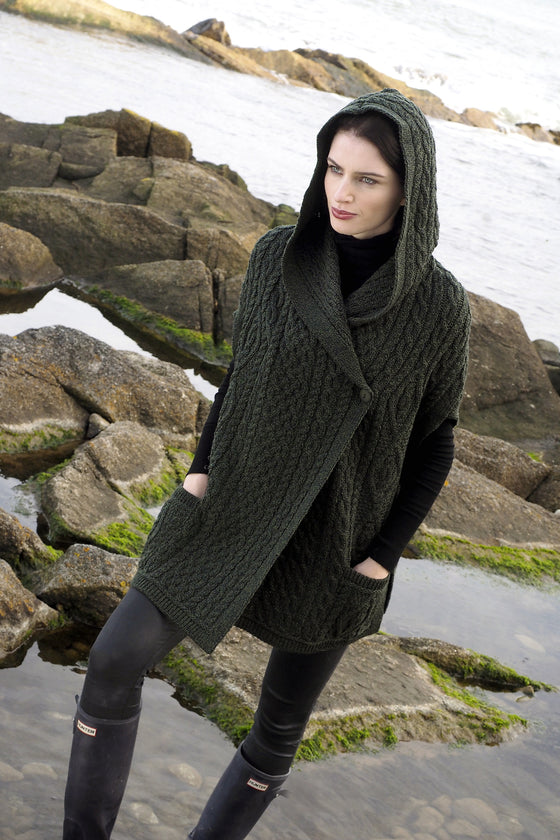 Women's One Button Hooded Cape - Army Green