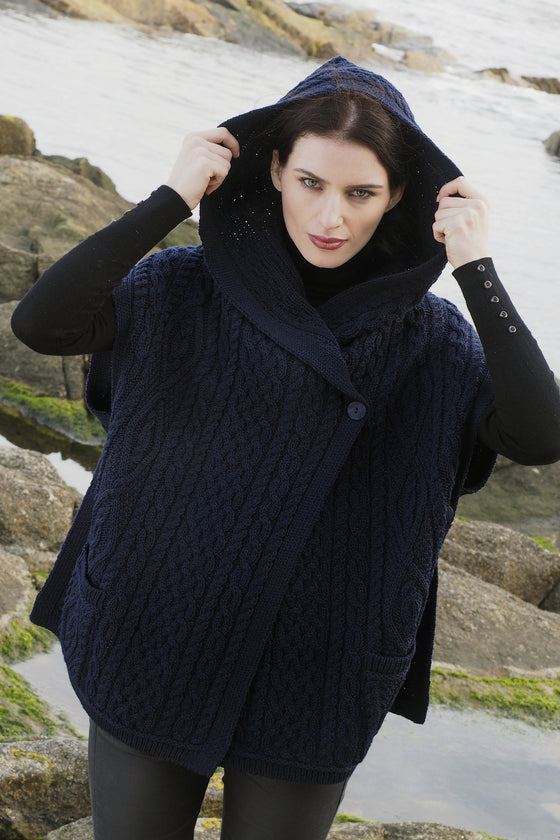 Women's One Button Hooded Cape - Navy