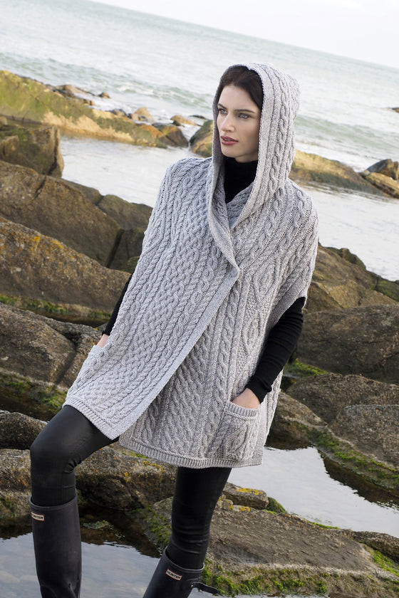 Women's One Button Hooded Cape - Soft Grey