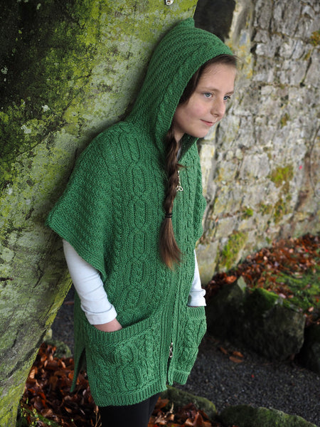 Girls Hooded Cape with Zip - Marl Green