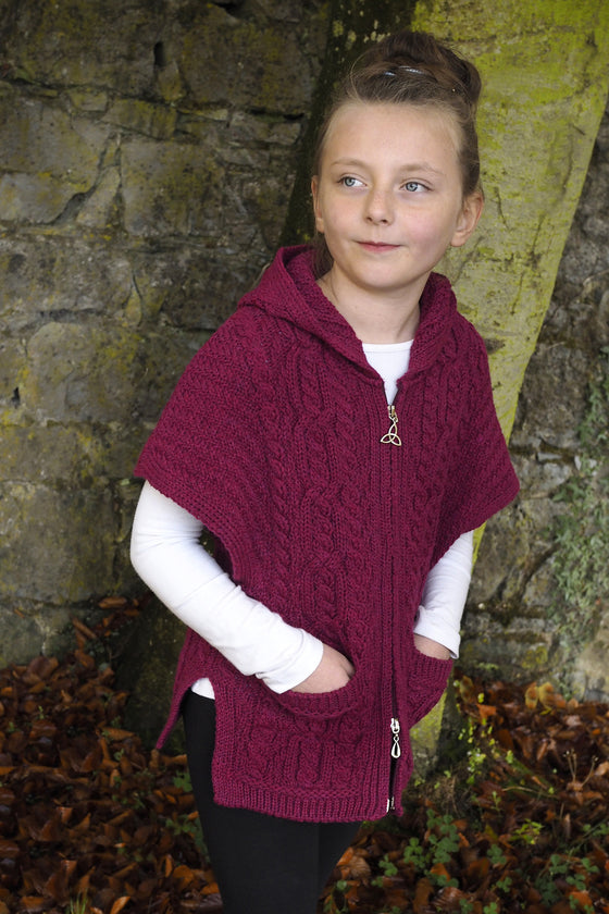 Girls Hooded Cape with Zip - Raspberry