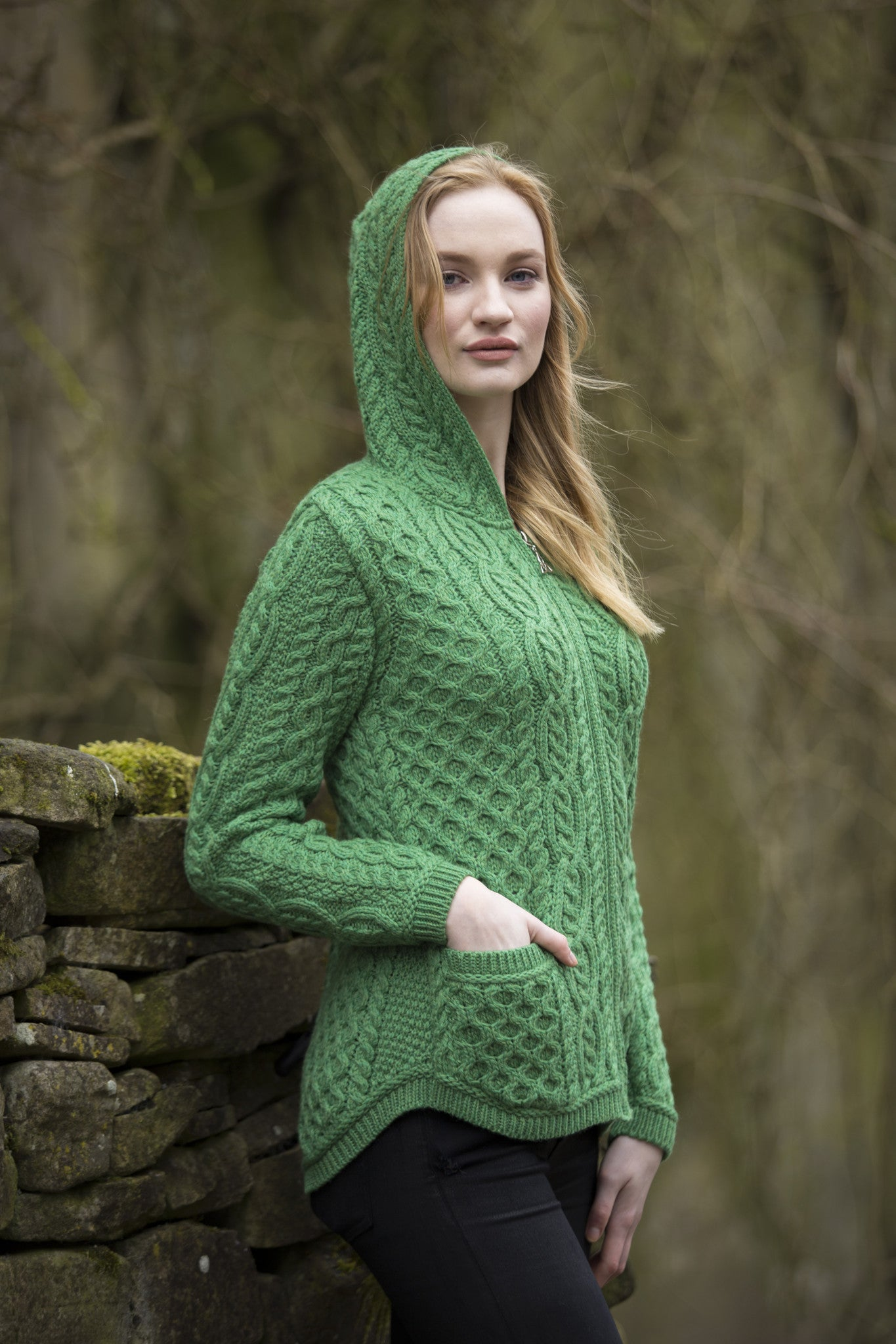 Women's Shirt Tail Hood Cardigan - Marl Green
