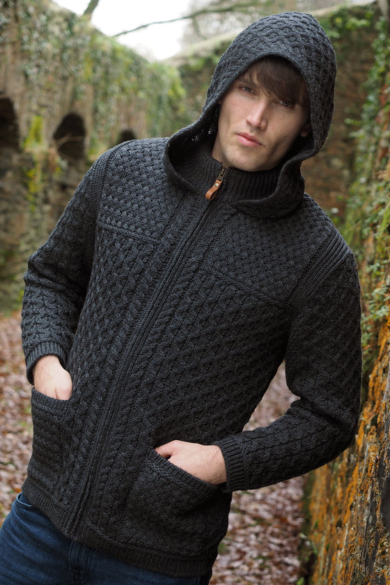 Men's Hooded Zip Cardigan - Charcoal