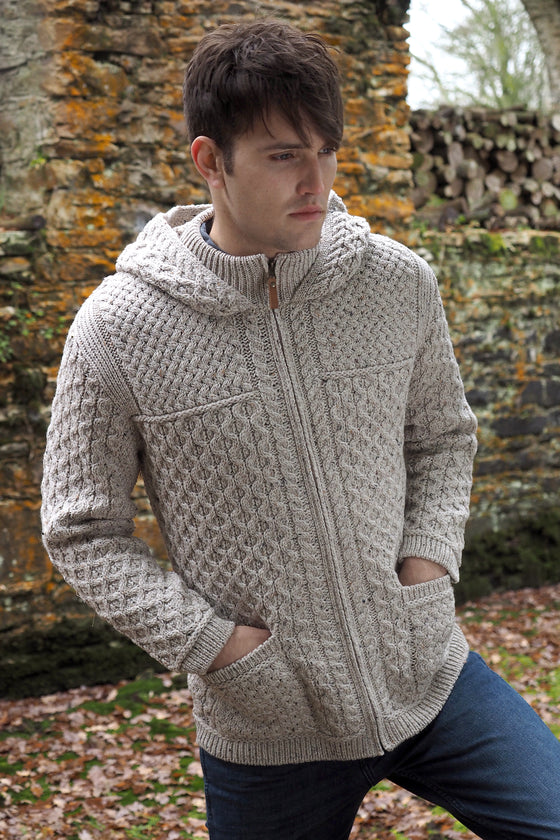 Men's Hooded Zip Cardigan - Oatmeal