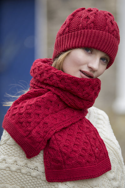 Honeycomb Scarf- Cherry