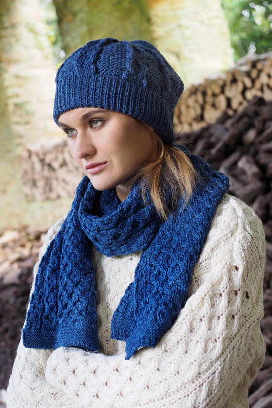 Men's Cable Knit Scarf - Marl Blue
