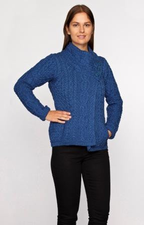Women's Three Button Aran Jacket - Marl Blue