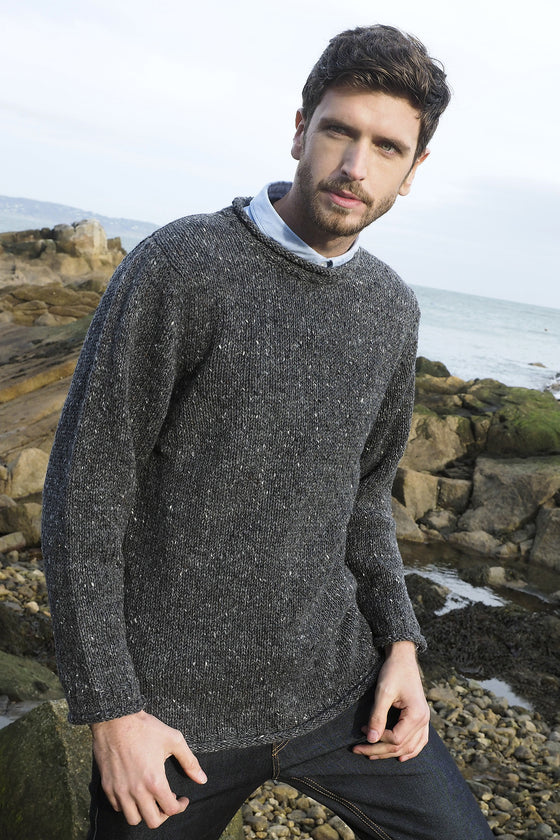 Men's Donegal Curl Neck Sweater - Charcoal Grey