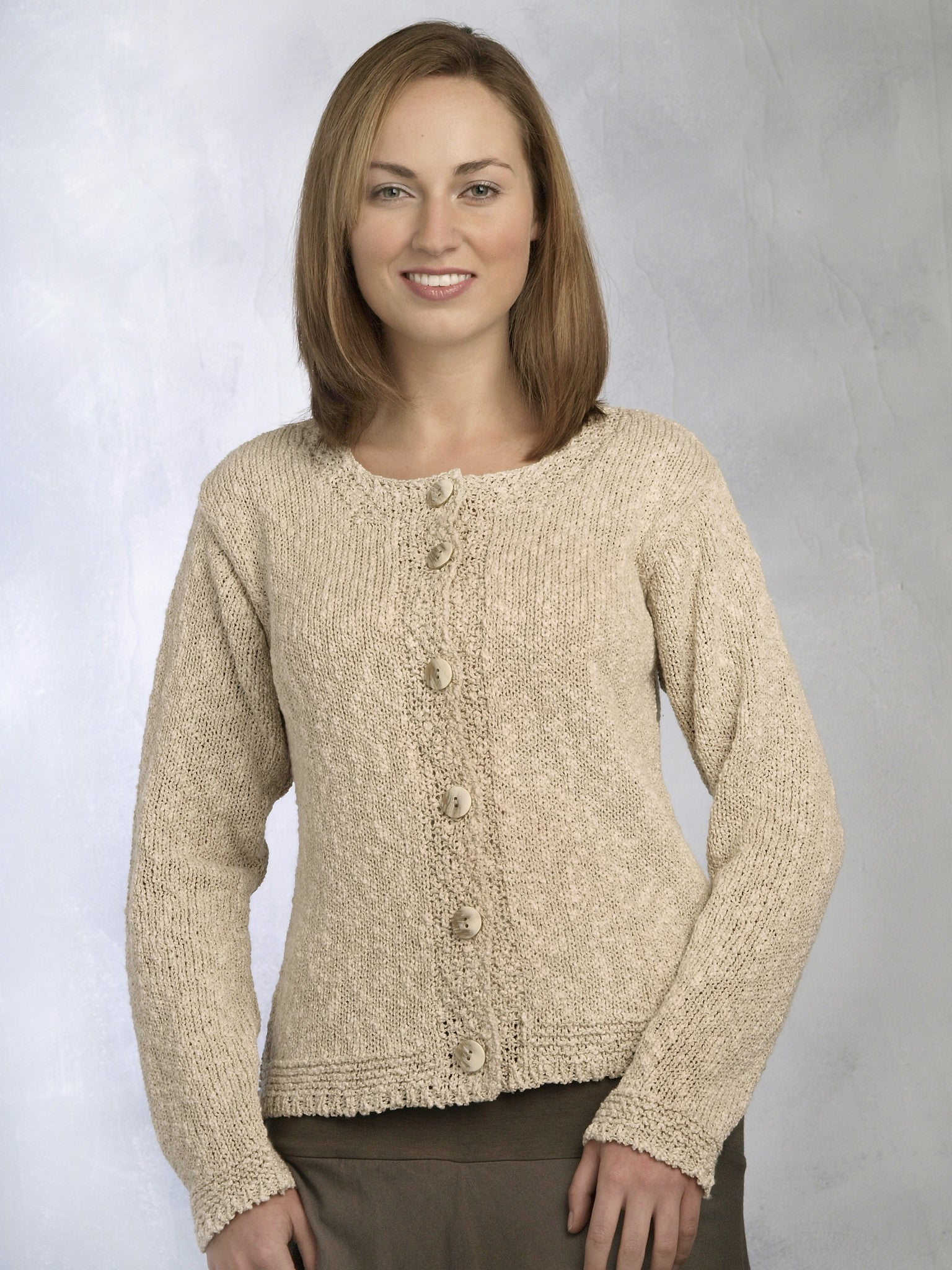 Women's Linen Cotton Knitted Cardigan - Natural