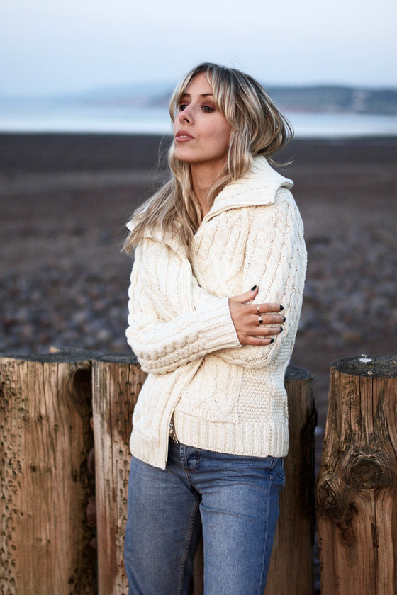 Women's Zip Collar Cable Knit Sweater - Natural