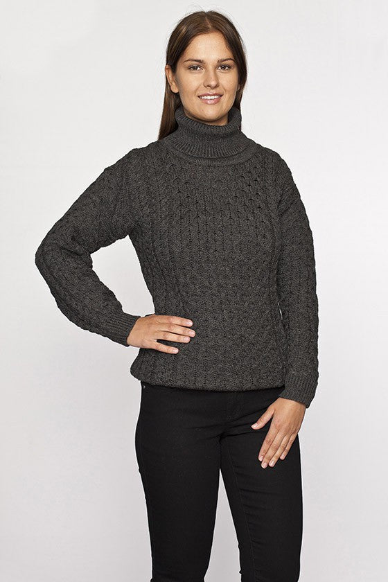 Women's Turtleneck Irish Knit Sweater - Charcoal Grey