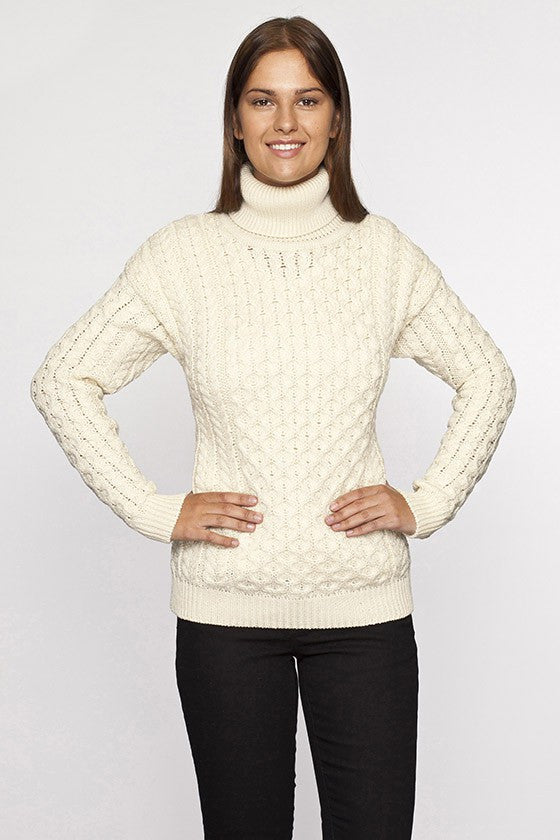 Ladies Turtleneck Irish Knit Sweater
