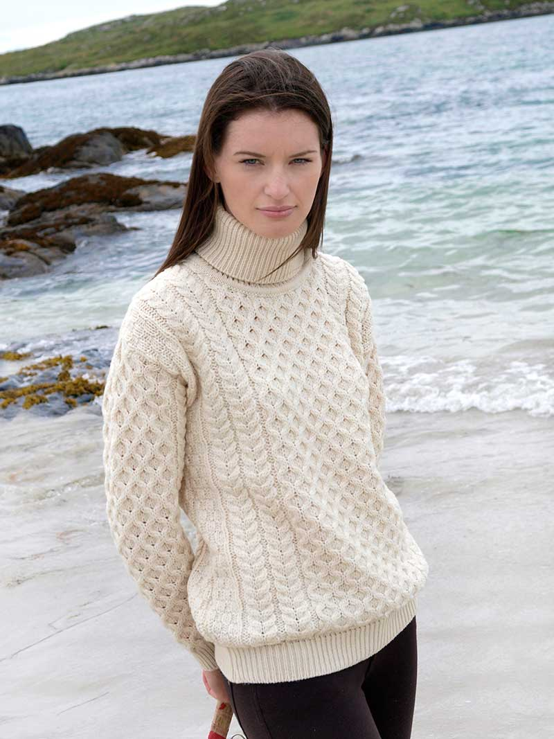 Knitting Patterns Womens Turtleneck Sweaters : Ladies Turtleneck Irish Knit Sweater - Aran Sweaters Direct
