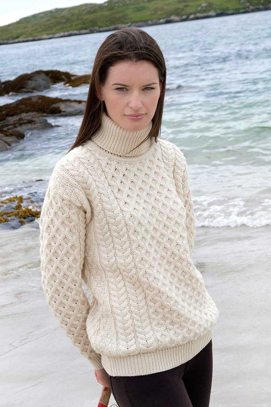 Women's Turtleneck Irish Knit Sweater - Natural