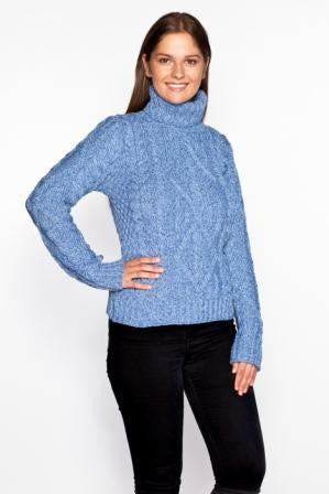 Women's Aran Turtleneck Sweater - Wedgewood Blue
