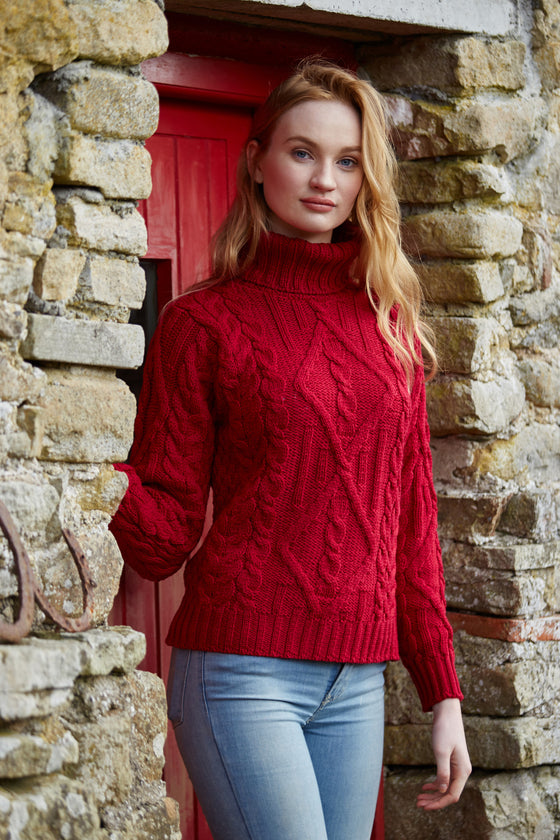 Women's Aran Turtleneck Sweater - Red